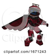 Droid Containing Digital Display Head And Stunned Expression And Led And Protection Bars And Light Chest Exoshielding And Ultralight Chest Exosuit And Pilots Wings Assembly
