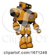 Bot Containing Dual Retro Camera Head And Retro Tech Device Head And Heavy Upper Chest And Circle Of Blue Leds And Light Leg Exoshielding Primary Yellow Halftone Facing Left View