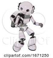 Cyborg Containing Oval Wide Head And Light Chest Exoshielding And Ultralight Chest Exosuit And Rocket Pack And Light Leg Exoshielding White Halftone Toon Fight Or Defense Pose