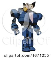Automaton Containing Bird Skull Head And Bone Skull Eye Holes And Robobeak Design And Heavy Upper Chest And Blue Shield Defense Design And Prototype Exoplate Legs Blue Halftone Hero Pose