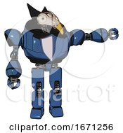 Automaton Containing Bird Skull Head And Bone Skull Eye Holes And Robobeak Design And Heavy Upper Chest And Blue Shield Defense Design And Prototype Exoplate Legs Blue Halftone