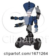 Cyborg Containing Flat Elongated Skull Head And Light Chest Exoshielding And Prototype Exoplate Chest And Minigun Back Assembly And Tank Tracks Dark Blue Halftone Arm Out Holding Invisible Object