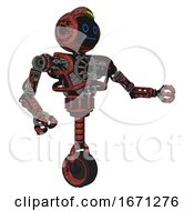 Cyborg Containing Digital Display Head And Blank Faced Expression And Green Led Array And Heavy Upper Chest And No Chest Plating And Unicycle Wheel Grunge Matted Orange Interacting
