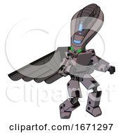Cyborg Containing Flat Elongated Skull Head And Visor And Light Chest Exoshielding And Prototype Exoplate Chest And Pilots Wings Assembly And Prototype Exoplate Legs Halftone Gray