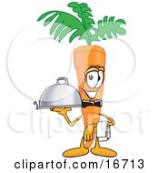 Orange Carrot Mascot Cartoon Character Serving A Dinner Platter While Waiting Tables In A Restaurant