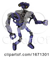 Cyborg Containing Dual Retro Camera Head And Simple Blue Telescopic Eye Head And Heavy Upper Chest And No Chest Plating And Ultralight Foot Exosuit Primary Blue Halftone Fight Or Defense Pose