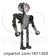 Android Containing Humanoid Face Mask And Heavy Upper Chest And No Chest Plating And Ultralight Foot Exosuit Old Corroded Copper Facing Left View