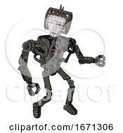 Android Containing Humanoid Face Mask And Heavy Upper Chest And No Chest Plating And Ultralight Foot Exosuit Old Corroded Copper Fight Or Defense Pose