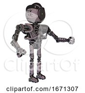 Bot Containing Green Dot Eye Corn Row Plastic Hair And Heavy Upper Chest And No Chest Plating And Ultralight Foot Exosuit Dark Ink Dots Sketch Interacting