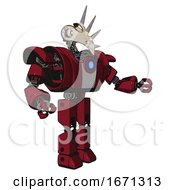 Bot Containing Bird Skull Head And White Eyeballs And Heavy Upper Chest And Heavy Mech Chest And Blue Energy Fission Element Chest And Prototype Exoplate Legs Fire Engine Red Halftone Interacting