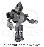 Bot Containing Grey Alien Style Head And Green Inset Eyes And Heavy Upper Chest And Triangle Of Blue Leds And Prototype Exoplate Legs Patent Concrete Gray Metal Interacting