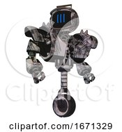 Robot Containing Digital Display Head And Three Vertical Line Design And Led And Protection Bars And Heavy Upper Chest And Heavy Mech Chest And Shoulder Spikes And Unicycle Wheel Scribble Sketch