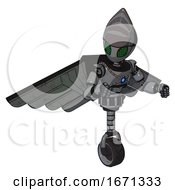 Bot Containing Grey Alien Style Head And Led Array Eyes And Light Chest Exoshielding And Blue Energy Core And Pilots Wings Assembly And Unicycle Wheel Patent Concrete Gray Metal