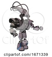 Droid Containing Flat Elongated Skull Head And Cables And Heavy Upper Chest And Heavy Mech Chest And Light Leg Exoshielding And Megneto Hovers Foot Mod Halftone Gray Interacting