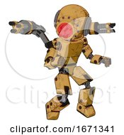 Mech Containing Round Head And Red Laser Crystal Array And Light Chest Exoshielding And Prototype Exoplate Chest And Minigun Back Assembly And Prototype Exoplate Legs Construction Yellow Halftone