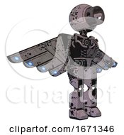 Android Containing Cable Connector Head And Light Chest Exoshielding And Cherub Wings Design And No Chest Plating And Prototype Exoplate Legs Dark Ink Dots Sketch Facing Left View