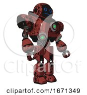 Mech Containing Digital Display Head And Blank Faced Expression And Heavy Upper Chest And Chest Green Energy Cores And Prototype Exoplate Legs Grunge Matted Orange Facing Left View