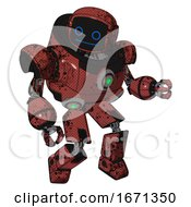 Mech Containing Digital Display Head And Blank Faced Expression And Heavy Upper Chest And Chest Green Energy Cores And Prototype Exoplate Legs Grunge Matted Orange Fight Or Defense Pose