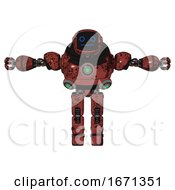 Mech Containing Digital Display Head And Blank Faced Expression And Heavy Upper Chest And Chest Green Energy Cores And Prototype Exoplate Legs Grunge Matted Orange T Pose