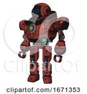 Mech Containing Digital Display Head And Blank Faced Expression And Heavy Upper Chest And Chest Green Energy Cores And Prototype Exoplate Legs Grunge Matted Orange
