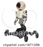 Cyborg Containing Three Led Eyes Round Head And Light Chest Exoshielding And Prototype Exoplate Chest And Insect Walker Legs Off White Toon Facing Right View
