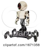Cyborg Containing Three Led Eyes Round Head And Light Chest Exoshielding And Prototype Exoplate Chest And Insect Walker Legs Off White Toon Standing Looking Right Restful Pose