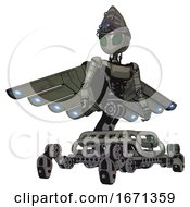 Droid Containing Grey Alien Style Head And Led Array Eyes And Alien Bug Creature Hat And Light Chest Exoshielding And Ultralight Chest Exosuit And Cherub Wings Design And Insect Walker Legs