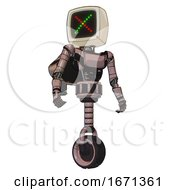 Automaton Containing Old Computer Monitor And Colored X Display And Light Chest Exoshielding And Ultralight Chest Exosuit And Rocket Pack And Unicycle Wheel Powder Pink Metal Hero Pose