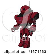 Cyborg Containing Oval Wide Head And Retro Antenna With Light And Heavy Upper Chest And Triangle Of Blue Leds And Prototype Exoplate Legs Fire Engine Red Halftone Facing Right View