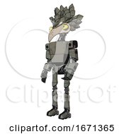 Poster, Art Print Of Mech Containing Bird Skull Head And Big Yellow Eyes And Bird Feather Design And Light Chest Exoshielding And Prototype Exoplate Chest And Ultralight Foot Exosuit Concrete Grey Metal
