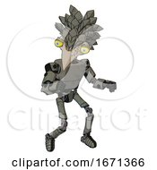 Mech Containing Bird Skull Head And Big Yellow Eyes And Bird Feather Design And Light Chest Exoshielding And Prototype Exoplate Chest And Ultralight Foot Exosuit Concrete Grey Metal