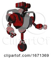 Robot Containing Dual Retro Camera Head And Heavy Upper Chest And Chest Vents And Unicycle Wheel Red Blood Grunge Material Interacting