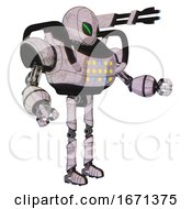 Droid Containing Grey Alien Style Head And Green Demon Eyes And Heavy Upper Chest And Colored Lights Array And Ultralight Foot Exosuit Sketch Pad Light Interacting