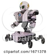Robot Containing Grey Alien Style Head And Led Array Eyes And Lightning Bolts And Helmet And Heavy Upper Chest And Heavy Mech Chest And Blue Energy Fission Element Chest And Insect Walker Legs