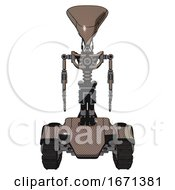 Automaton Containing Flat Elongated Skull Head And Light Chest Exoshielding And No Chest Plating And Tank Tracks Khaki Halftone Front View