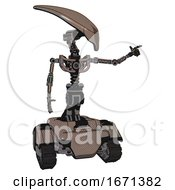 Automaton Containing Flat Elongated Skull Head And Light Chest Exoshielding And No Chest Plating And Tank Tracks Khaki Halftone Pointing Left Or Pushing A Button