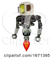 Droid Containing Old Computer Monitor And Yellow Circle Array Display And Old Retro Speakers And Heavy Upper Chest And No Chest Plating And Jet Propulsion Green Metal