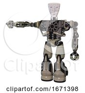 Droid Containing Humanoid Face Mask And Binary War Paint And Heavy Upper Chest And No Chest Plating And Light Leg Exoshielding And Stomper Foot Mod Grungy Fiberglass