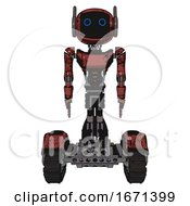 Automaton Containing Digital Display Head And Circle Eyes And Winglets And Light Chest Exoshielding And Ultralight Chest Exosuit And Tank Tracks Grunge Matted Orange Front View