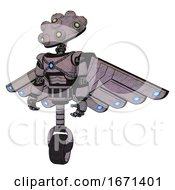 Bot Containing Techno Multi Eyed Domehead Design And Light Chest Exoshielding And Blue Energy Core And Cherub Wings Design And Unicycle Wheel Dark Sketch Standing Looking Right Restful Pose