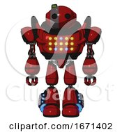 Automaton Containing Oval Wide Head And Green Led Ornament And Heavy Upper Chest And Colored Lights Array And Light Leg Exoshielding And Megneto Hovers Foot Mod Dark Red Front View