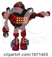 Automaton Containing Oval Wide Head And Green Led Ornament And Heavy Upper Chest And Colored Lights Array And Light Leg Exoshielding And Megneto Hovers Foot Mod Dark Red