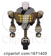 Robot Containing Humanoid Face Mask And Heavy Upper Chest And Colored Lights Array And Unicycle Wheel Old Copper Front View