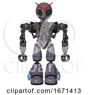 Mech Containing Grey Alien Style Head And Led Array Eyes And Heavy Upper Chest And No Chest Plating And Light Leg Exoshielding Light Lavender Metal Front View