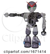 Mech Containing Grey Alien Style Head And Led Array Eyes And Heavy Upper Chest And No Chest Plating And Light Leg Exoshielding Light Lavender Metal Arm Out Holding Invisible Object