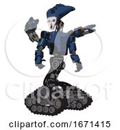 Cyborg Containing Flat Elongated Skull Head And Light Chest Exoshielding And Prototype Exoplate Chest And Minigun Back Assembly And Tank Tracks Dark Blue Halftone Hero Pose