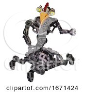 Robot Containing Bird Skull Head And Big Yellow Eyes And Chicken Design And Heavy Upper Chest And No Chest Plating And Insect Walker Legs Scribble Sketch Fight Or Defense Pose