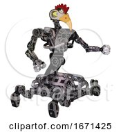 Robot Containing Bird Skull Head And Big Yellow Eyes And Chicken Design And Heavy Upper Chest And No Chest Plating And Insect Walker Legs Scribble Sketch Interacting