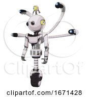 Android Containing Oval Wide Head And Beady Black Eyes And Minibot Ornament And Light Chest Exoshielding And Ultralight Chest Exosuit And Blue Eye Cam Cable Tentacles And Unicycle Wheel