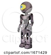 Droid Containing Giant Eyeball Head Design And Light Chest Exoshielding And Ultralight Chest Exosuit And Prototype Exoplate Legs Dark Dirty Scrawl Sketch Facing Right View